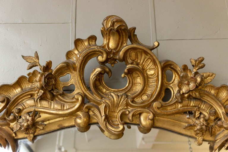 Very large and ornate gilt wood and plaster mirror in the Rococo baroque style with original mercury glass. The mirror is on good condition with minor losses to the frame. French mid-19th century.