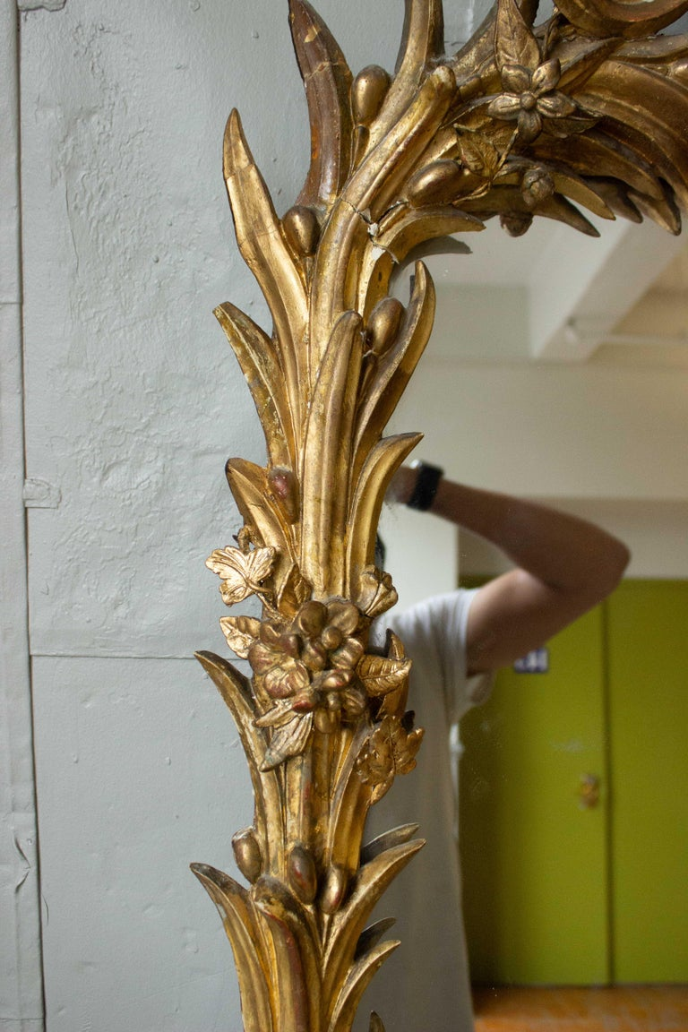 Napoleon III Large French Ornate Rococo Style Gilt Mirror For Sale