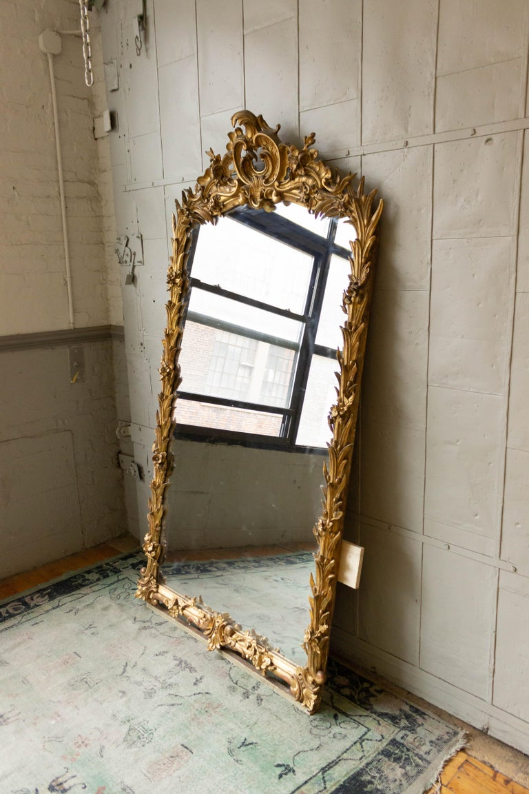 Giltwood Large French Ornate Rococo Style Gilt Mirror For Sale