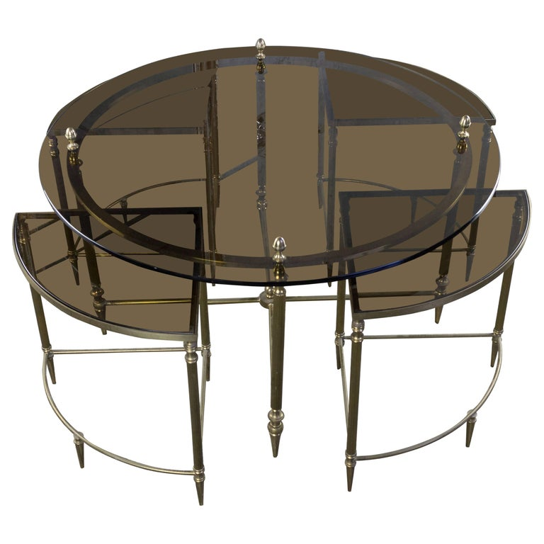 French Brass Coffee and Nesting Table Ensemble, 1970s