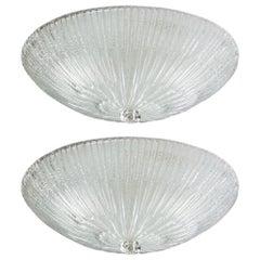 Pair of Murano 1950s Flush Mount Ceiling Fixtures