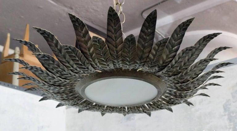 Spanish 1950s Flush Mount Sunburst Ceiling Fixture For Sale 2