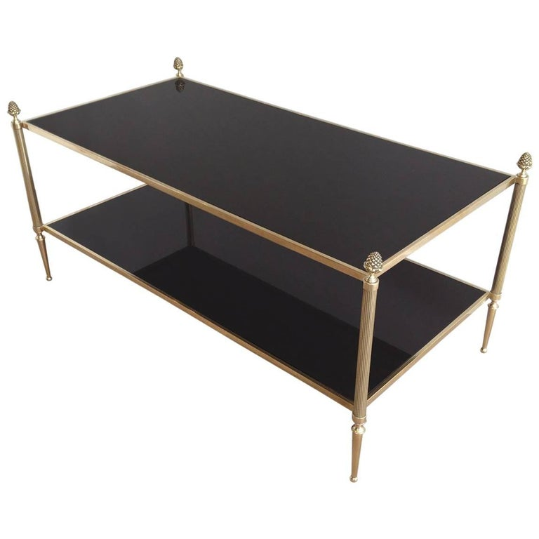 Maison Baguès Brass Coffee Table with Black Mirrored Glass