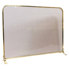 Vintage Modern French Brass and Glass Fire Screen