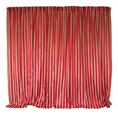 Pair of French White and Red Striped Satin Drapes