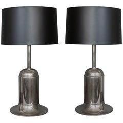 Pair of Nickel-Plated Metal Modern Lamps