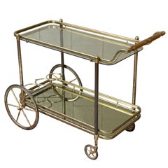 French Brass Bar Cart with Glass Shelves