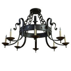 Large 8-Arm Iron Chandelier