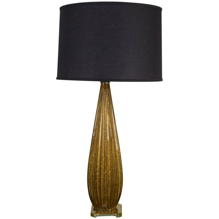 Tall Gold Murano Glass Lamp For Sale