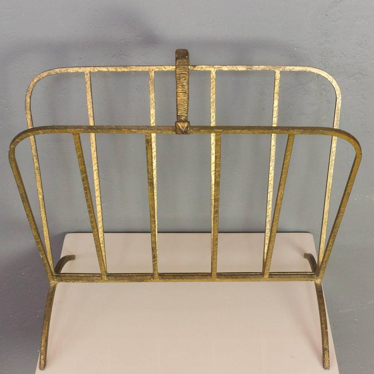 Gilt Iron Magazine Rack In Good Condition For Sale In Buchanan, NY