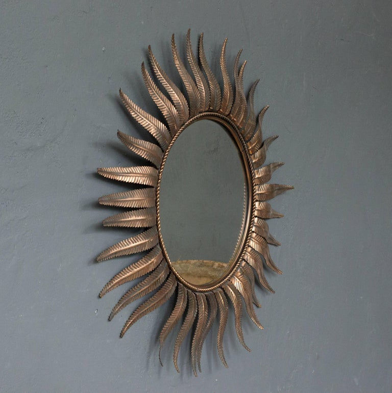 French Sunburst Mirror in Copper Plated Metal In Excellent Condition For Sale In Long Island City, NY
