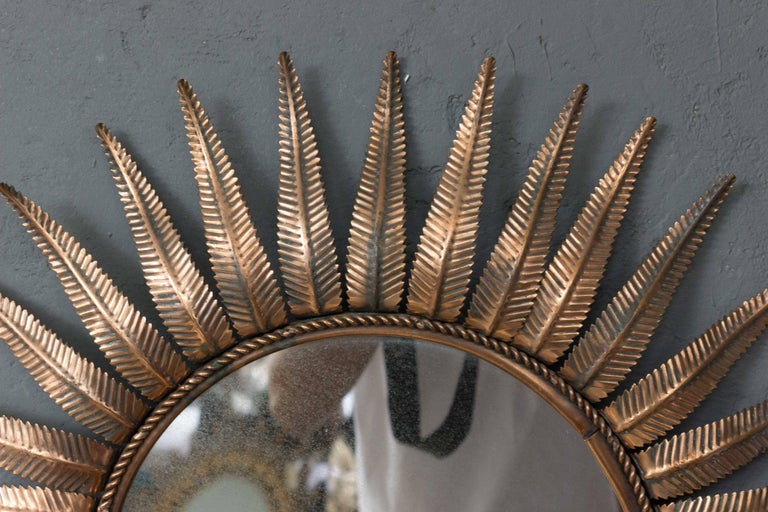French Sunburst Mirror in Copper Plated Metal For Sale 1