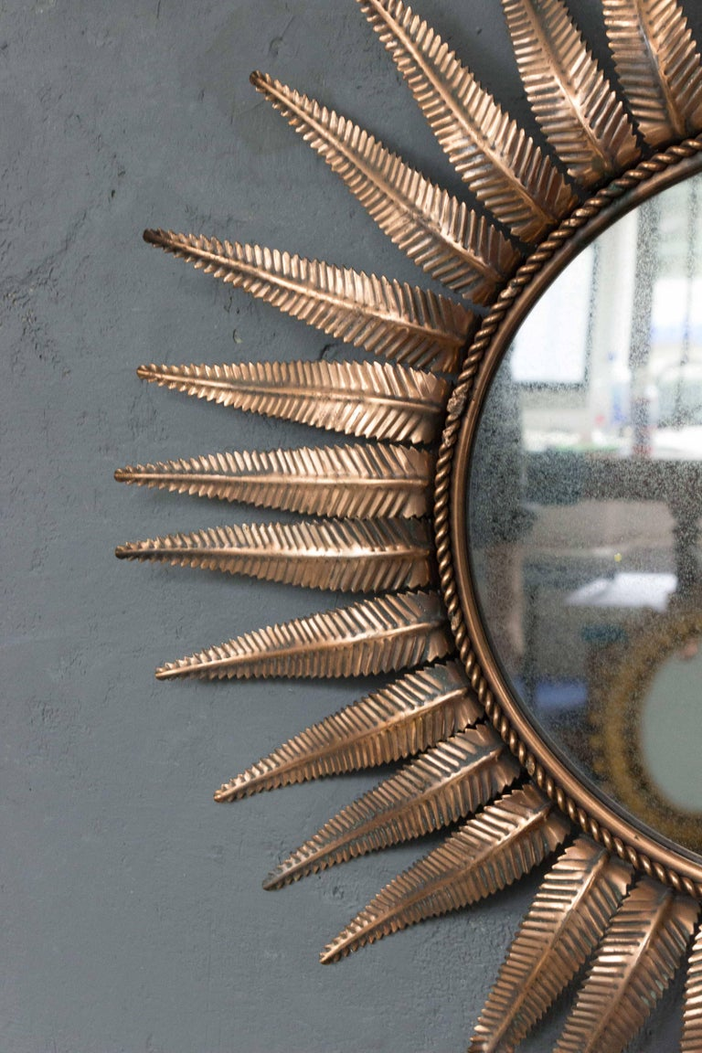 Mid-20th Century French Sunburst Mirror in Copper Plated Metal For Sale