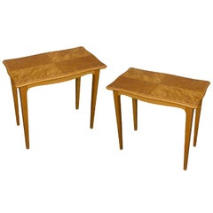 Pair of Midcentury Finnish End Tables in Blonde Wood