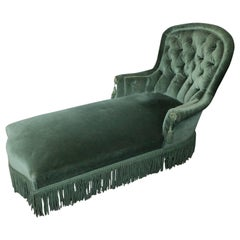 French Napoleon III Period Green Velvet Chaise Lounge