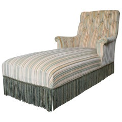 French 19th Century Napoleon III Chaise Lounge in Striped Fabric