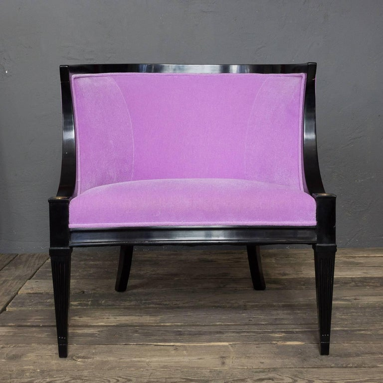 Mid-20th Century Pair of American Mid-Century Modern Rounded Back Armchairs in Purple Velvet For Sale