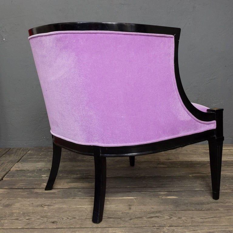 Pair of American Mid-Century Modern Rounded Back Armchairs in Purple Velvet For Sale 1