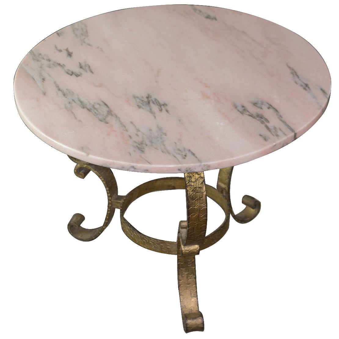 Small Round Gilt Metal Coffee Table with Pink Marble Top