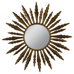 Spanish Gilt Metal Sunburst Mirror, 1940s