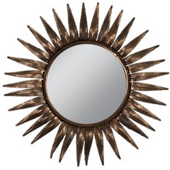 French Sunburst Mirror in Copper Plated Metal