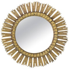 Spanish Giltwood Sunburst Mirror with Carved Frame