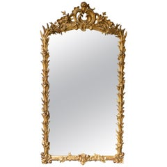 Large French Ornate Rococo Style Gilt Mirror
