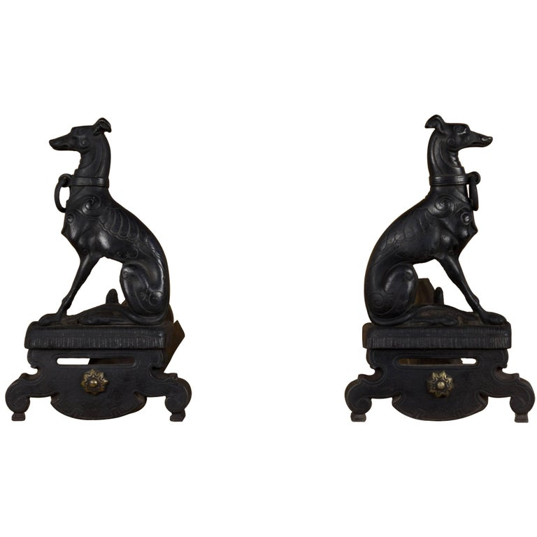 Pair of Whippet Greyhound Andirons For Sale