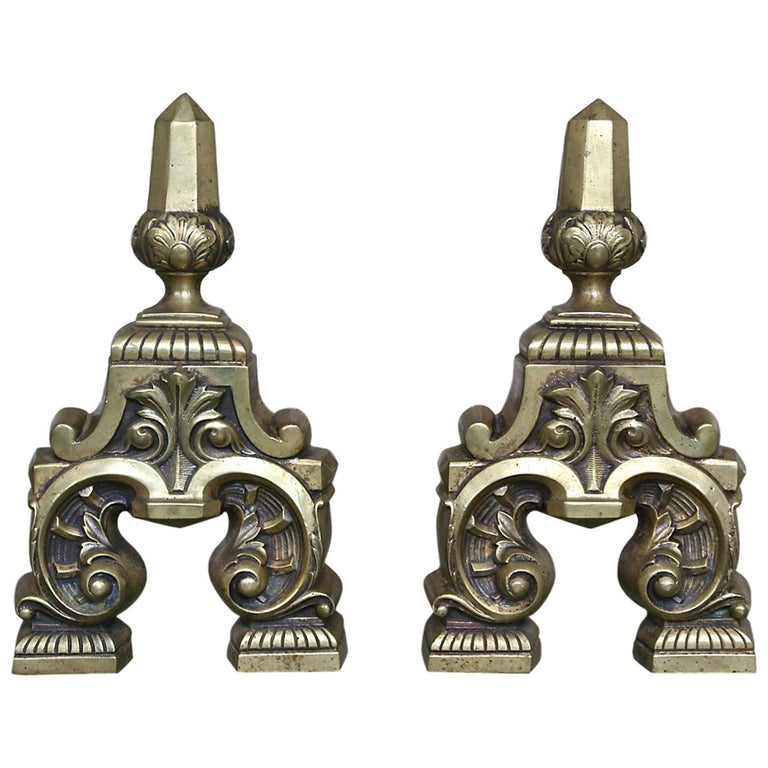 Pair of French Andirons, 1950s For Sale