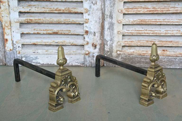 Pair of French Andirons, 1950s In Good Condition For Sale In Long Island City, NY