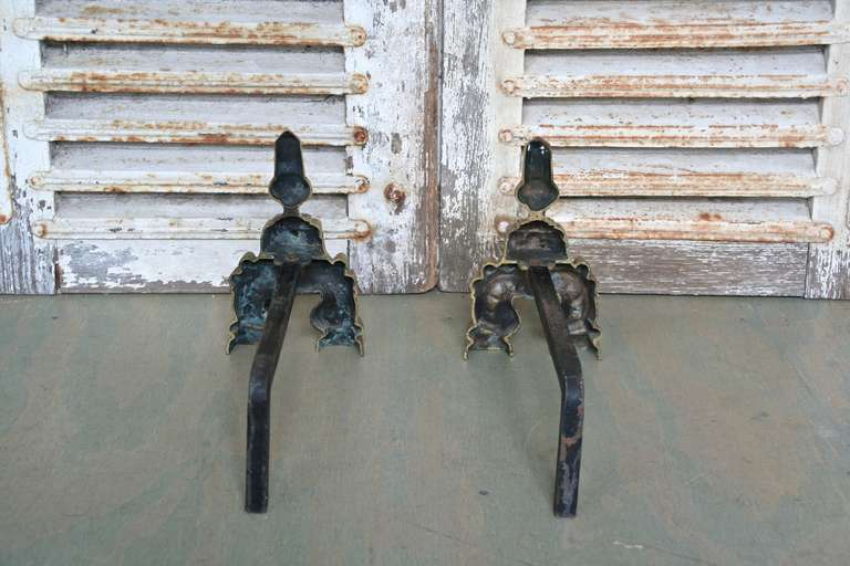 Mid-20th Century Pair of French Andirons, 1950s For Sale