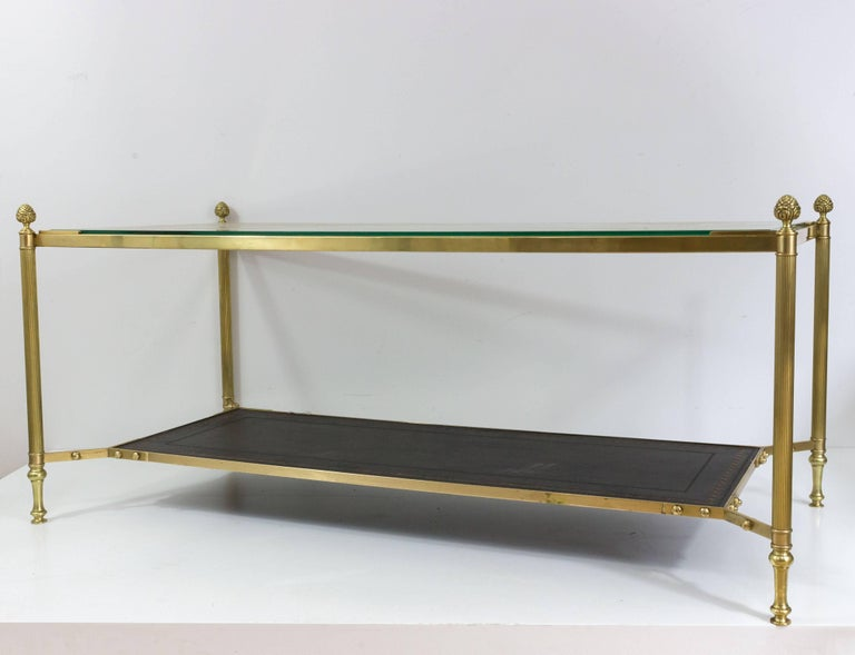 Neoclassical French 1940s Brass Coffee Table in the Style of Maison Jansen For Sale