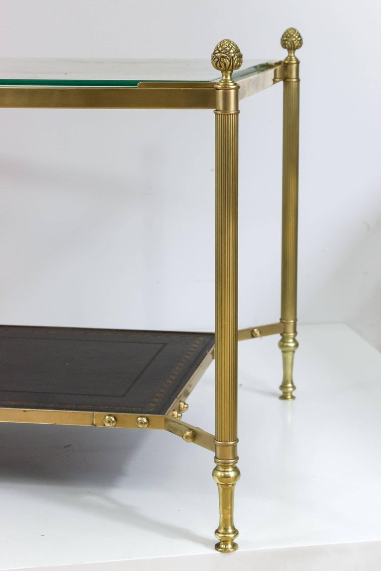 French 1940s Brass Coffee Table in the Style of Maison Jansen In Good Condition For Sale In Long Island City, NY