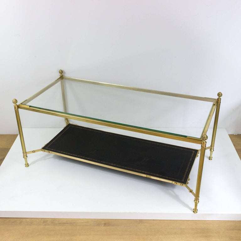 Mid-20th Century French 1940s Brass Coffee Table in the Style of Maison Jansen For Sale