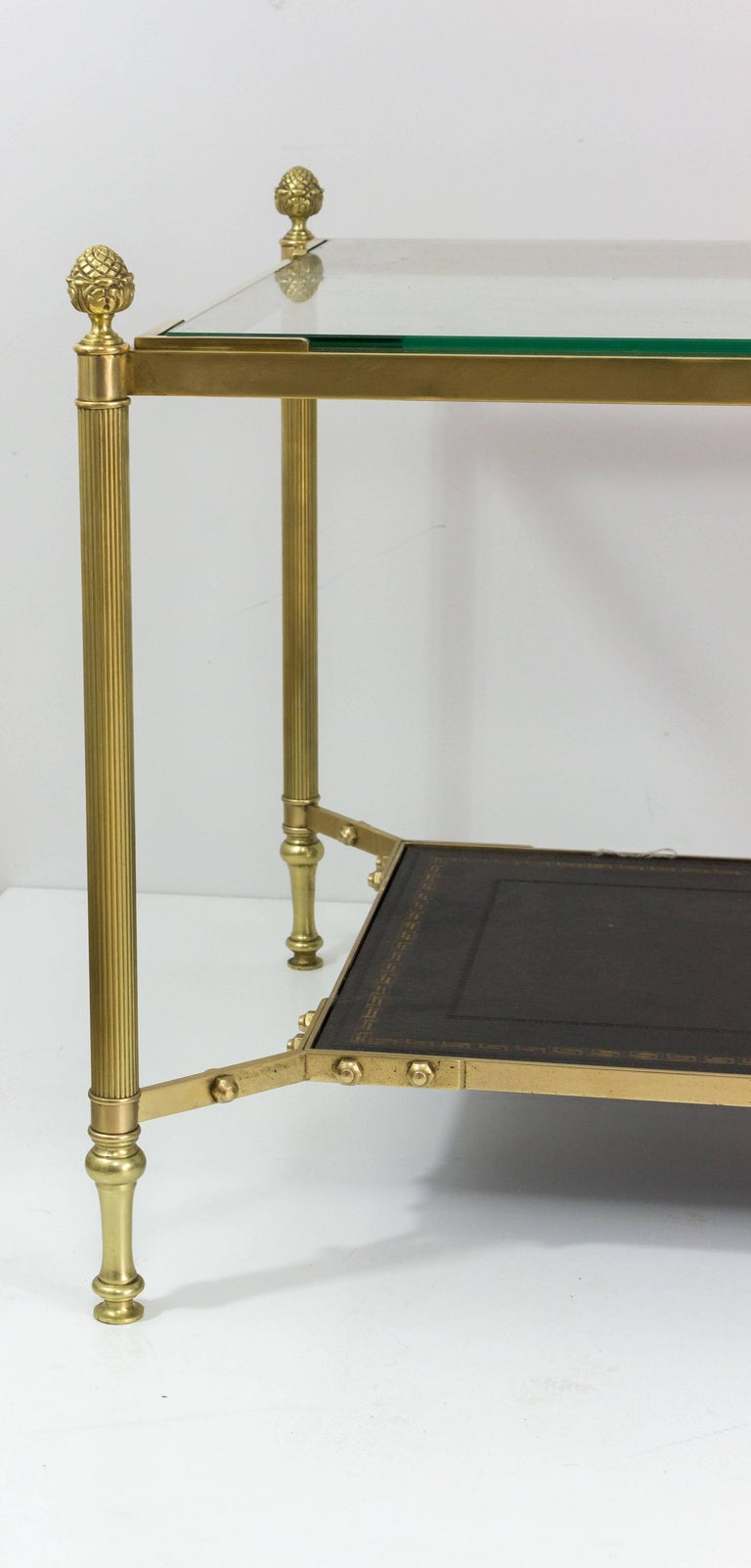 French 1940s Brass Coffee Table in the Style of Maison Jansen For Sale 1