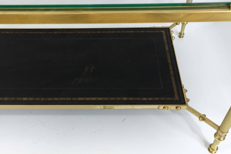 French 1940s Brass Coffee Table in the Style of Maison Jansen For Sale 3