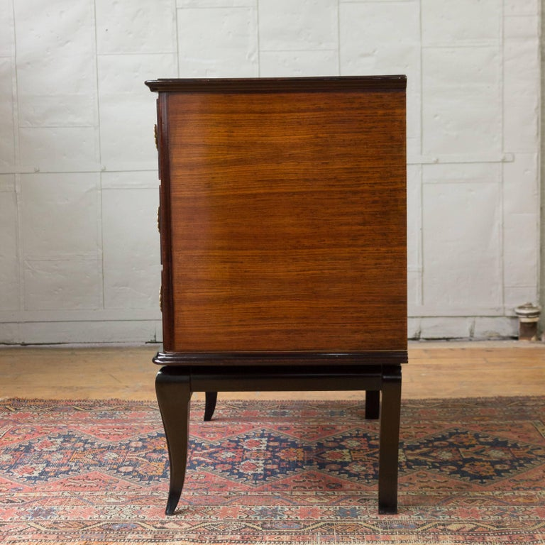 French Rosewood Chest of Drawers with Bronze Mirror For Sale