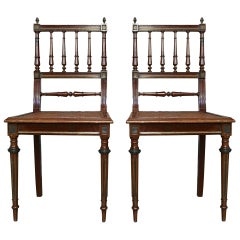 Pair of French 1900s Louis XVI Style Side Chairs with Wicker Seats