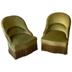 Pair of Green Velvet Slipper Chairs