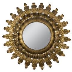 Large Round Spanish Gilt Metal Sunburst Mirror with Leaf Frame