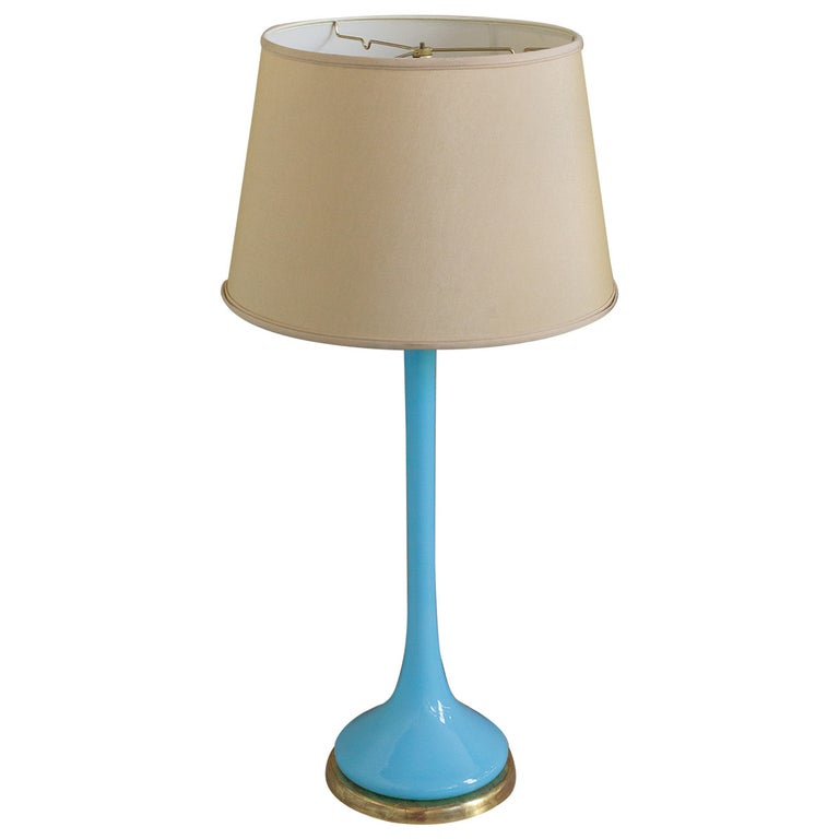 Midcentury Italian Blue Glass Lamp on Giltwood Base For Sale