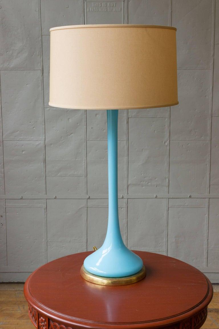 Mid-Century Modern Midcentury Italian Blue Glass Lamp on Giltwood Base For Sale