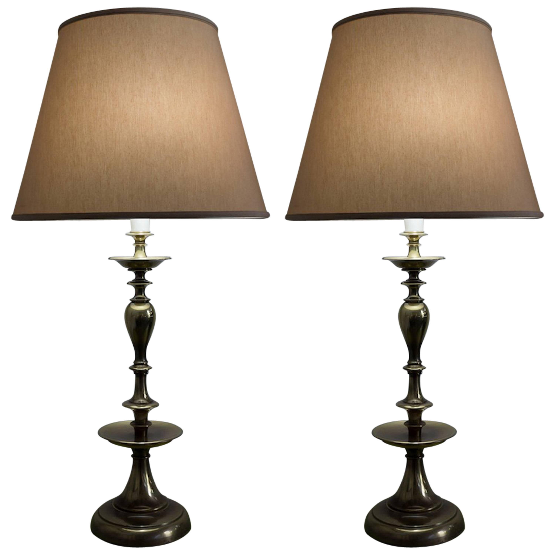 Pair of American Mid-Century Modern Brass Lamps