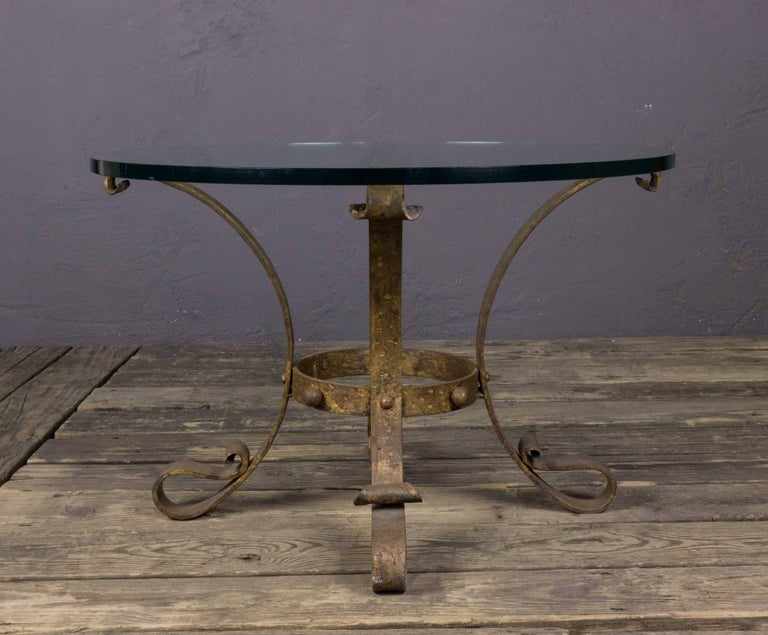 Neoclassical Small Round Gilt Coffee Table with Glass Top For Sale