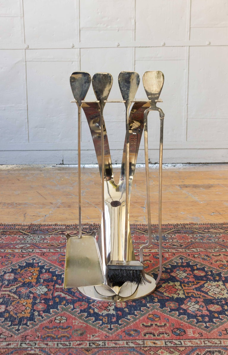 Five-piece set of Mid-Century Modern nickel-plated fireplace tools, French, 1960s.