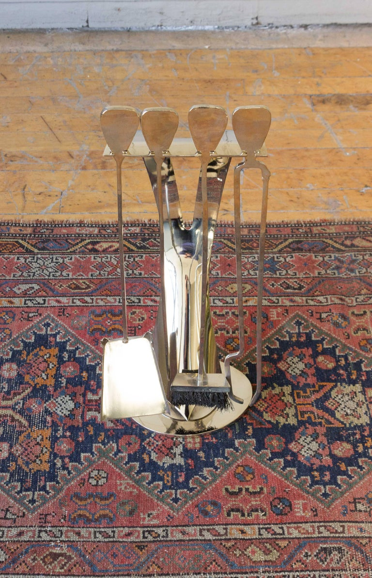 Mid-Century Modern Set of French 1960s Nickel-Plated Fireplace Tools For Sale
