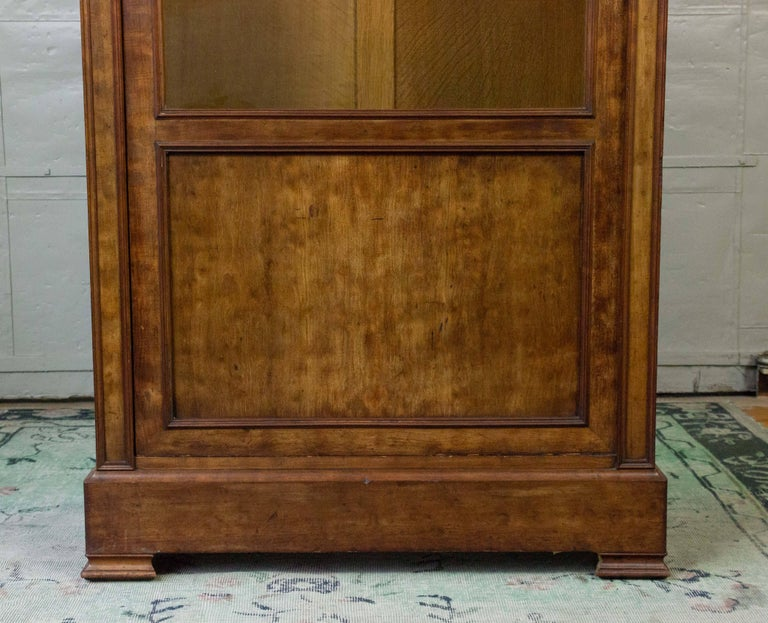 Veneer French 19th Century Walnut Bookcase with Original Glass Door For Sale
