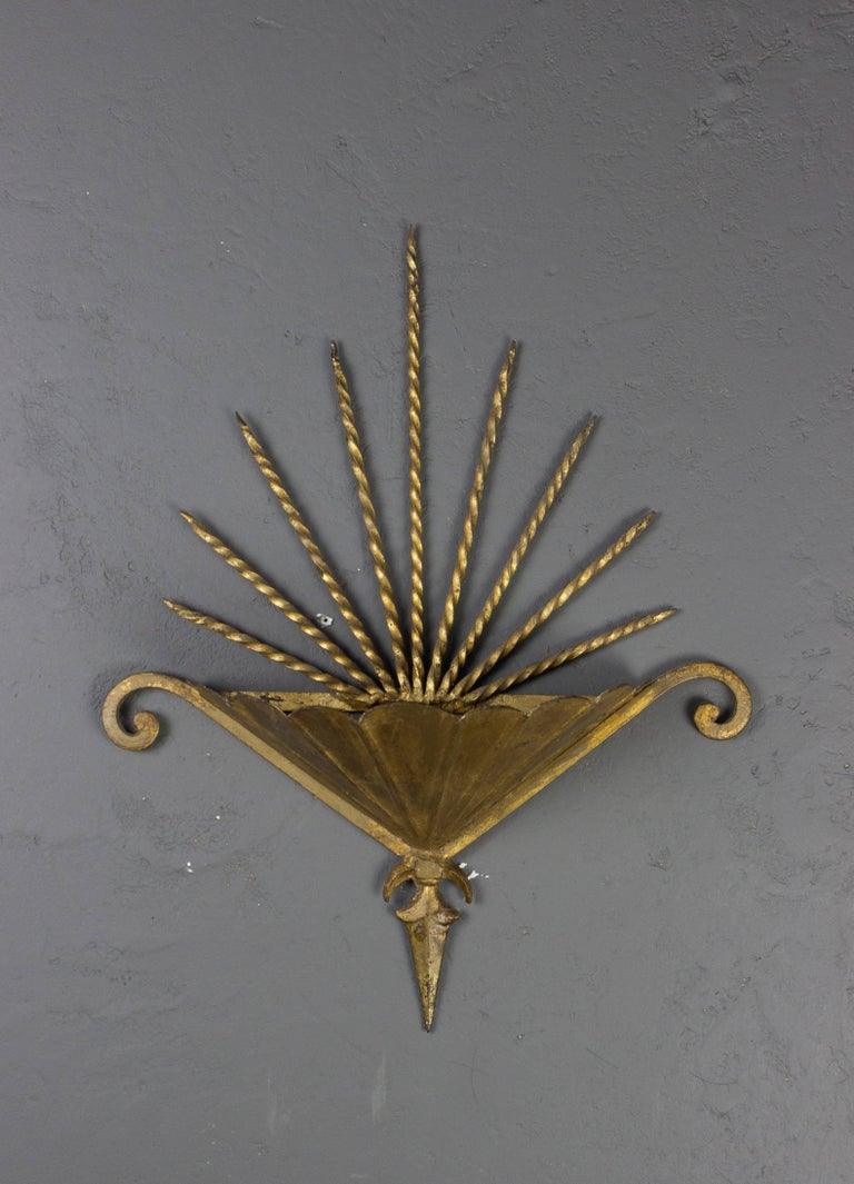 Large Spanish Gilt Metal Wall Light For Sale at 1stdibs