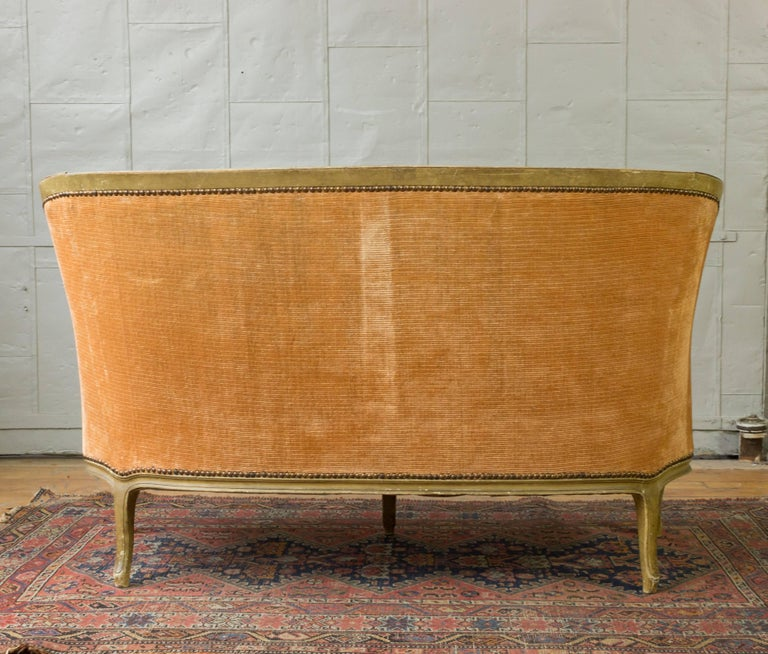 Small French Louis XV Style Settee in Pale Apricot Velvet For Sale 2