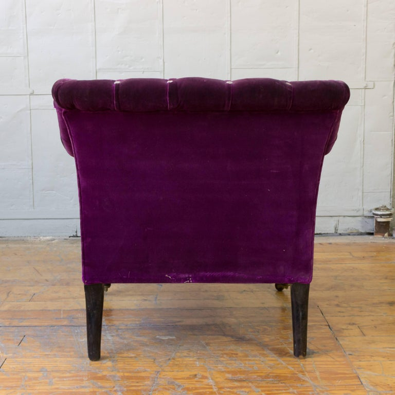 French 19th Century Armchair in Distressed Purple Velvet with White Braided Trim For Sale 5